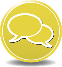 Two speech  white bubbles on a circular yellow background. This image is non-functional